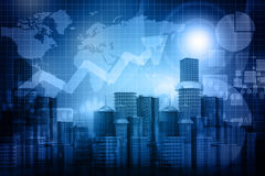 Business progress of skyline citys. 3d render of Business progress of skyline citys Stock Photos