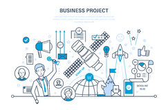 Business project, control, time management, marketing, statistics, analysis, data control. Business project, start-up, project management, control and time Stock Photos