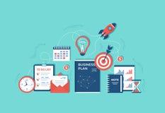 Business project startup Financial planning Idea Strategy Management Realization Success. Rocket launch, business plan, hourglass. Target, money, calendar vector illustration