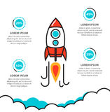Business project startup infographic with rocket template Royalty Free Stock Photo