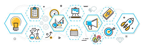 Business project startup process banner and scheme in hexagons e. Flat line design illustration concept of scheme and plan business project startup process vector illustration