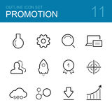 Business promotion vector outline icon set Royalty Free Stock Images