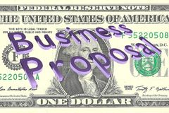 Business Proposal concept. 3D illustration of Business Proposal title on One Dollar bill as a background Stock Photo
