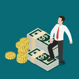 Business prosperity businessman coin flat 3d isometric vector Royalty Free Stock Photos