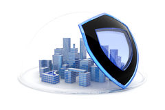 Business protection. Downtown under protection of the shield. Hi-res digitally generated image Royalty Free Stock Images