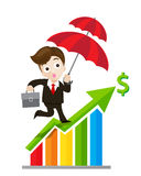 Business protection concept business man cartoon smile holding u Stock Images
