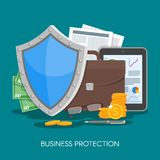 Business protection concept vector illustration. Shield protect data and business from risks. Poster in flat style Royalty Free Stock Photography