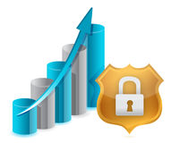 Business protection graph and shield illustration Royalty Free Stock Photos