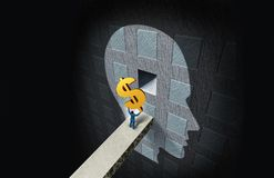 Business Psychology Concept. And wealth thinking or financial education  and psychiatry or psychologist fees symbol with 3D illustration elements Royalty Free Stock Photo