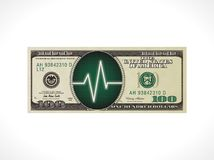 Business pulse concept - 100 dollars with heartbeat sensor monitor royalty free illustration