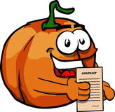 Business pumpkin holding contract Royalty Free Stock Photo