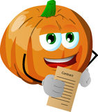 Business pumpkin holding contract Stock Photo