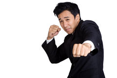 Business punch or fight. Business man punch or fight royalty free stock image