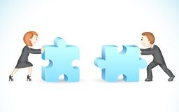 Business Puzzle. Illustration of 3d business people in vector solving jigsaw puzzle Stock Images