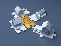 Business puzzle. Cost of Real estate and money. Economic illustration