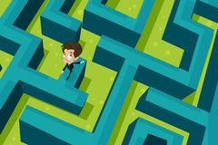 Business Puzzle. Easy to edit  illustration of businessman walking on puzzle maze Royalty Free Stock Photography