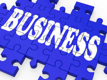 Business Puzzle Showing Corporate Deals Royalty Free Stock Images