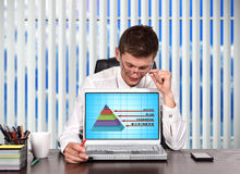 Business pyramid. Businessman looking on screen laptop with business pyramid concept Stock Image