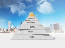 Business pyramid. Pyramid composed of business concepts on city background Stock Image