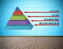 Business pyramid. Concept on blue plasma tv wall in room Stock Images