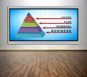Business pyramid. Plasma tv with business pyramid on wall in office Royalty Free Stock Image