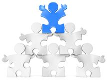 Business Pyramid. Puzzle people x 6 in Pyramid Formation. Blue Royalty Free Stock Photo