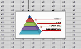 Business pyramid. White board with drawing  business pyramid  on a deposit boxes background Royalty Free Stock Images