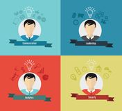 Business qualities with profiles icons vector illustration