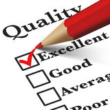 Business Quality Control Checklist. Quality control business products and customer service checklist with excellent word checked with a red check mark EPS 10 Royalty Free Stock Photos