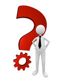 Business Question and Solution. Business man standing next to shiny red metal question mark; great for question, solution and business concepts Royalty Free Stock Image