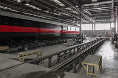 Business rail wagon in a workshop major repair. Royalty Free Stock Photo