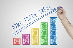 Business, Real Estate concept. Hand drawing Increasing Business chart showing the growth of Home Price Index. Business, Real Estate concept. Hand drawing Royalty Free Stock Photos