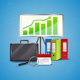 Business Realistic Concept. Colorful business concept with folders calendar magnifier stand and bag on blue background realistic vector illustration Stock Photos
