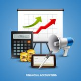 Business Realistic Concept. Colorful business realistic concept with different tools for financial accounting on blue background vector illustration Stock Photography