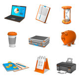 Business Realistic Icons Set. With calendar laptop and coffee  vector illustration Stock Photos
