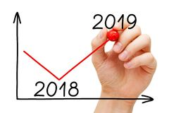 Business Recovery Graph For Year 2019 Concept stock photography