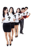 Business recruitment, holding question marks Stock Photos
