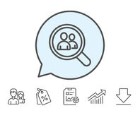 Business recruitment line icon. Search employees. Business recruitment line icon. Search employees sign. Magnifying glass symbol. Report, Sale Coupons and Chart Stock Photo
