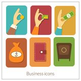 Business rectangular icons with rounded corners. In flat style, vector illustration Royalty Free Stock Images