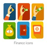 Business rectangular icons with rounded corners. Business vector rectangular icons with rounded corners in flat style with long drop shadows Royalty Free Stock Photo