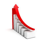 Business red growing bar graph with rising arrow. 3d render illustration Royalty Free Stock Photos