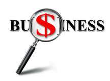 Business red word and dollar on magnifying glass Royalty Free Stock Photography