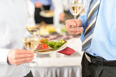 Business refreshments appetizer plate and wine Stock Images