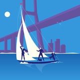Business regatta concept vector illustration in flat style. Vector illustration of three businessmen sailing on a boat. One man looking ahead. Sailing regatta Stock Photography