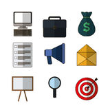 Business related icons image. Computer suitcase money checklist megaphone envelope board search bullseye business related icons image  illustration design Royalty Free Stock Photography