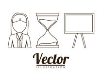 Business related icons image. Woman hourglass board business related icons image  illustration design Stock Photography
