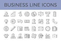 Business Related Vector Line Icons Set vector illustration