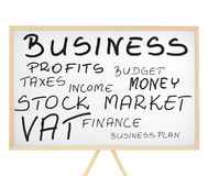 Business related words cloud on magnetic board stock photo
