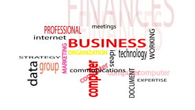 Business related words text animation. White screen background. 4k animation royalty free illustration