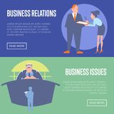 Business relations and business issues banners vector illustration